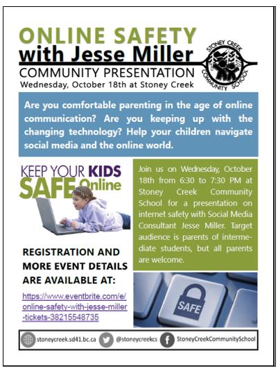 Online Safety Presentation for Parents at Stoney Creek