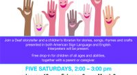 Winter and Spring Family Storytime in Sign Language and English at Burnaby Public Library https://www.bpl.bc.ca/kids/family-storytime-in-sign-language-and-english  Join a Deaf storyteller and a children's librarian for stories, rhymes and crafts presented in […]