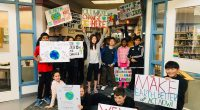 Ms. Keilty's Grade 4/5 students took to the streets to spread their message about Climate change.